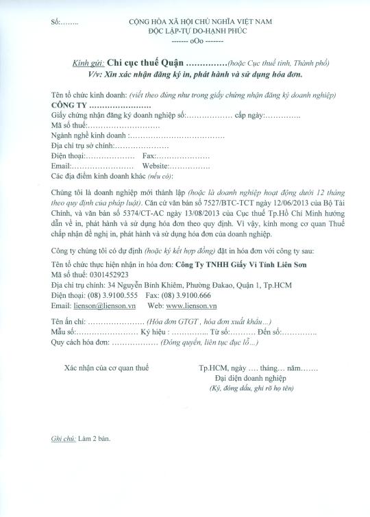 Công văn xin xác nhận in hóa đơn của cục Thuế TPHCM