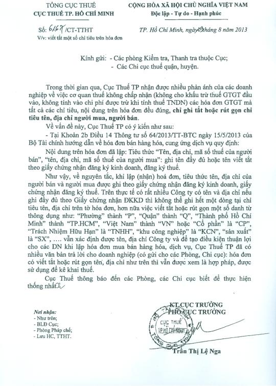 Công văn 6167/CT-TTHT của cục Thuế TPHCM