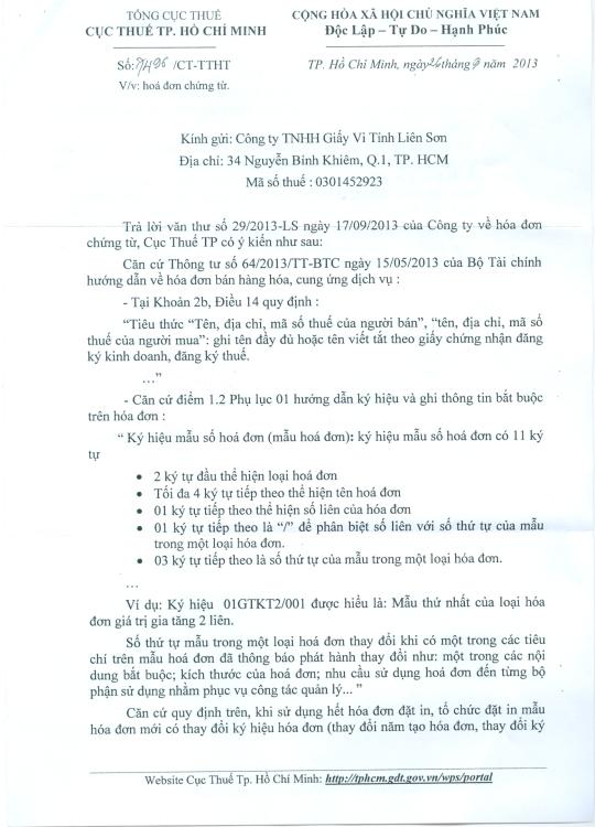Công văn 7496/CT-TTHT của cục Thuế TPHCM